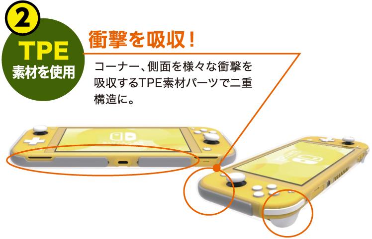 衝撃を吸収!TPE素材を使用 コーナー、側面を様々な衝撃を吸収するTPE素材パーツで二重構造に。