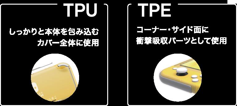 しっかりと本体を包み込むTPUをカバー全体に使用 コーナー・サイド面にTPEを衝撃吸収パーツとして使用