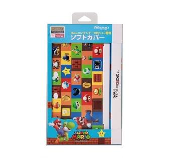 Newニンテンドー3DS LL専用<br>ソフトカバー<br>スーパーマリオ(グリーン)